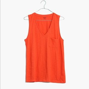 Madewell | Whisper Cotton V-Neck Pocket Tank Sz XL